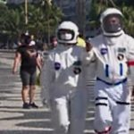 Space Suits on the Beach in Brazil