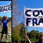 """Cyclists & Police Give Thumbs Up to """"Covid = Fraud"""" Banner at Tour de France"""